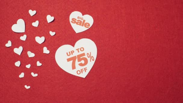 Big sale over the red background. Valentines day
