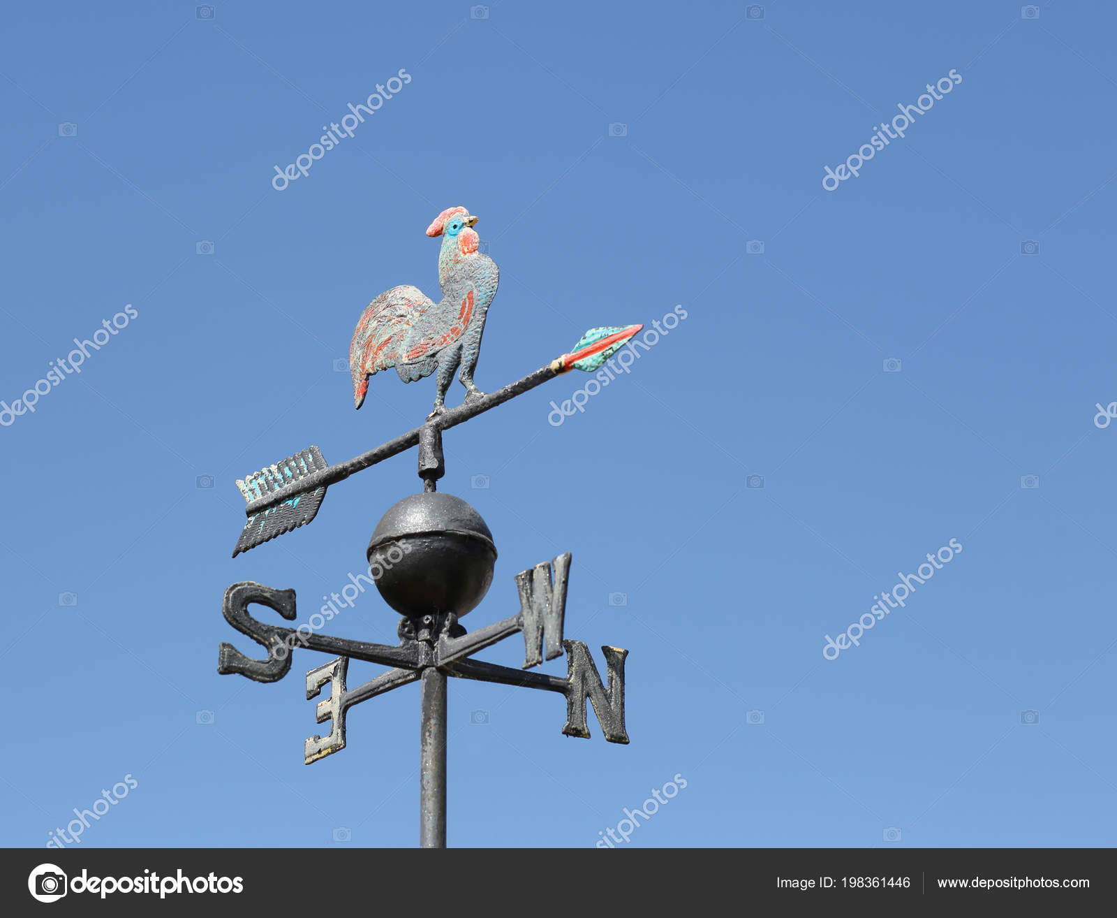 Old Wind Vane Detect Wind Direction Arrow Pointing Cardinal Point