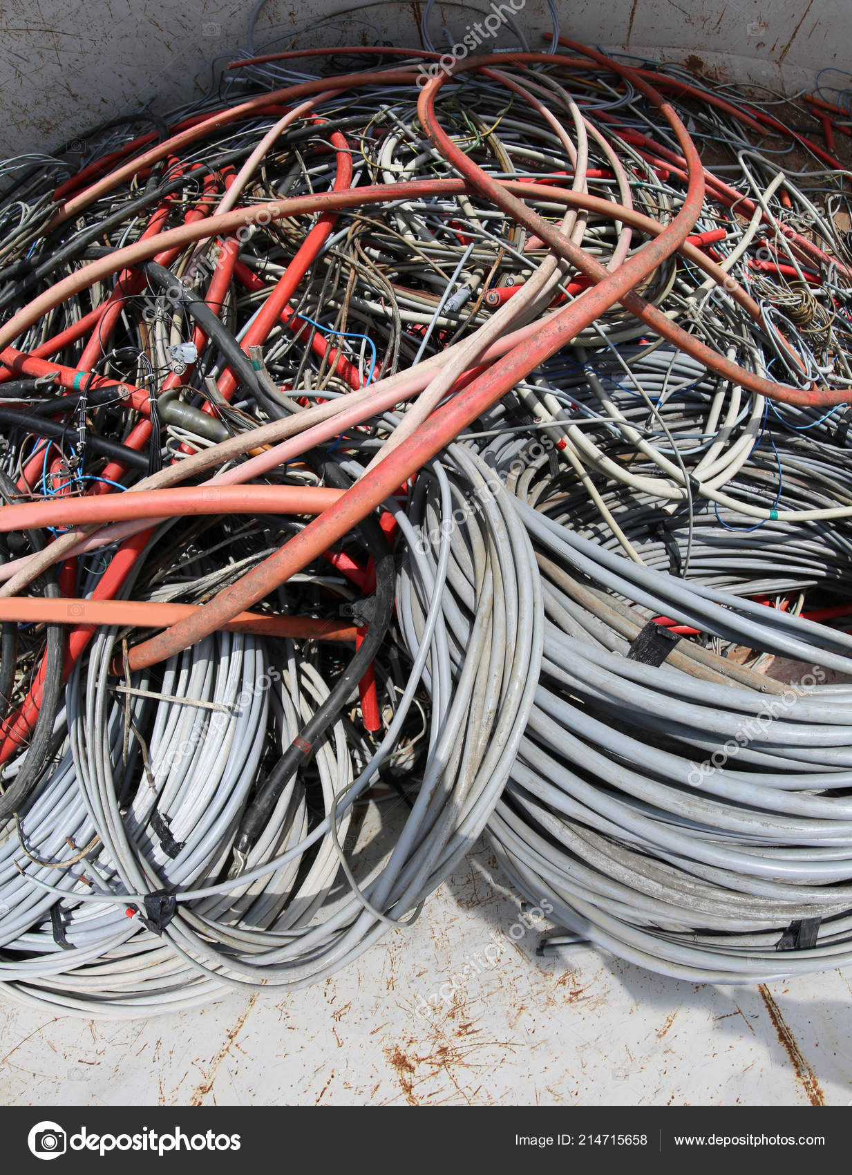 Many Used Electrical Cables High Voltage Wires Container ... High Voltage Wiring on