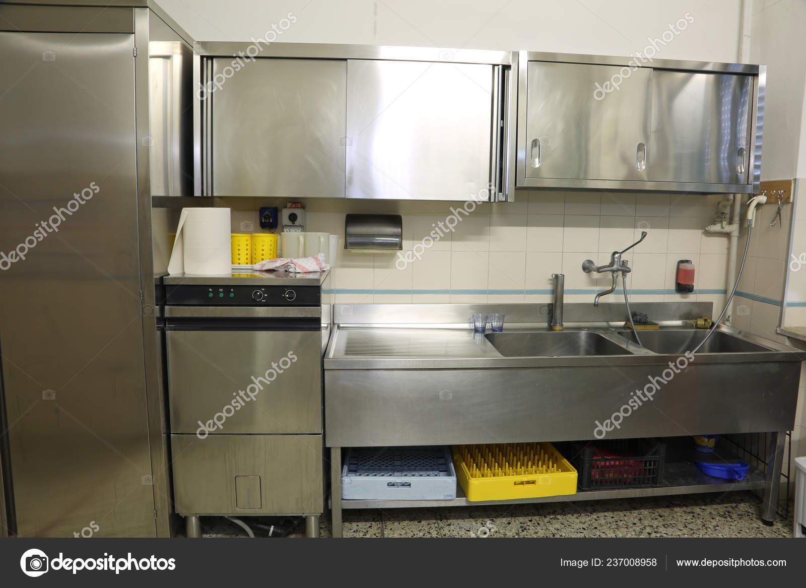 Interior Industrial Kitchen Large Steel Sink Big Dishwasher