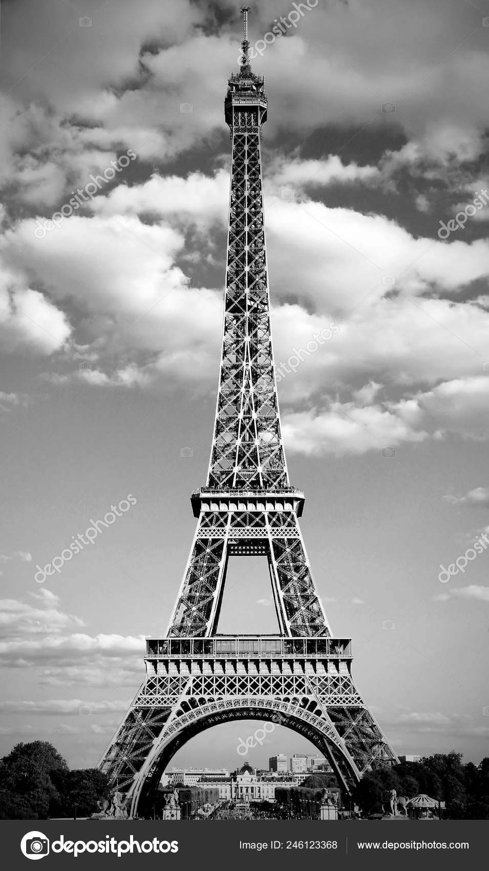 Eiffel Tower Symbol Paris France Black White Effect Trocadero Area Stock Photo C Chiccododifc 246123368