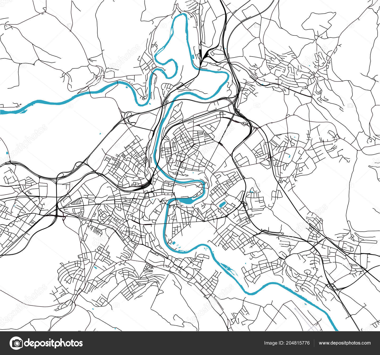map of the city of Bern, Switzerland — Stock Vector © tish11 #204815776