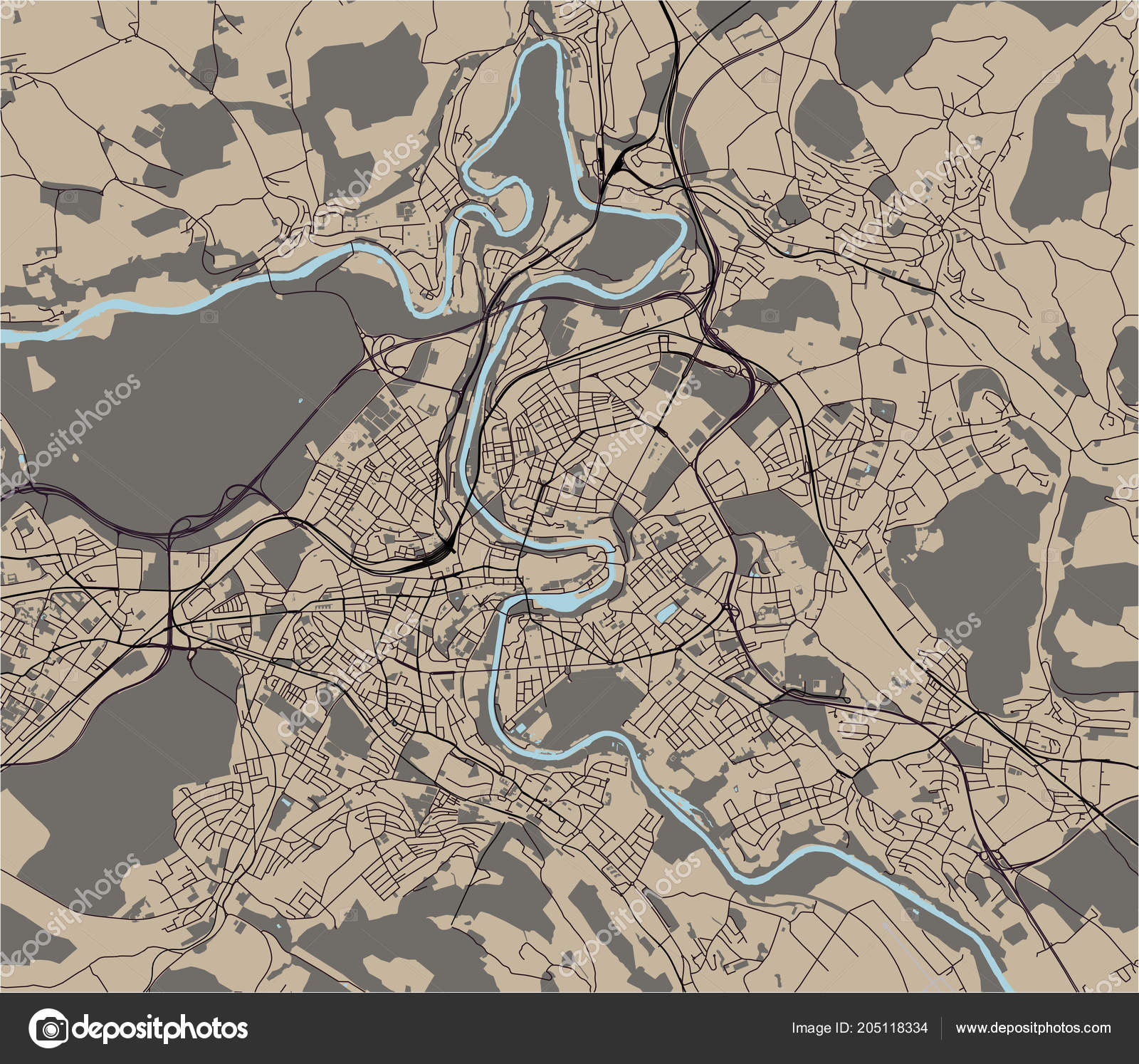 Vector Map City Bern Switzerland — Stock Vector © tish11 #205118334