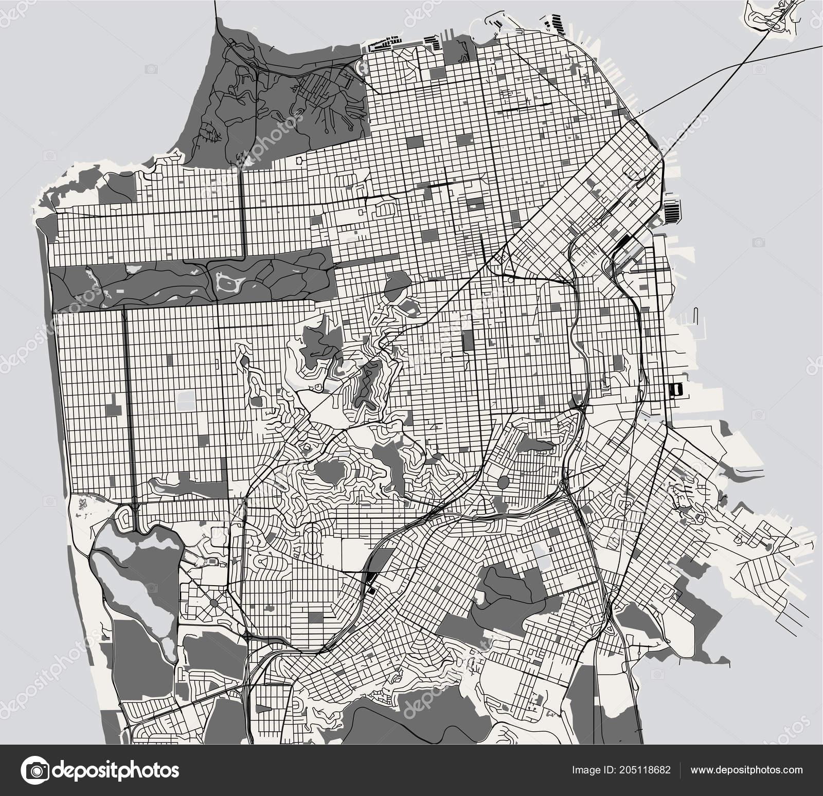 Vector Map City San Francisco Usa — Stock Vector © tish11 #205118682
