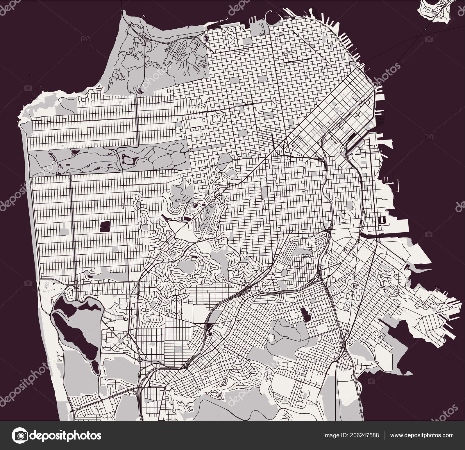 map of the city of San Francisco, USA — Stock Vector © tish11 #206247588