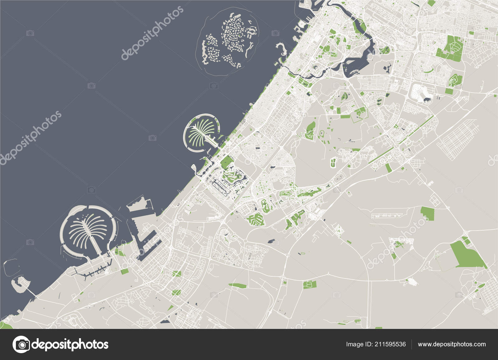 Map of the city of Dubai, United Arab Emirates UAE — Stock Vector Dubai Map on