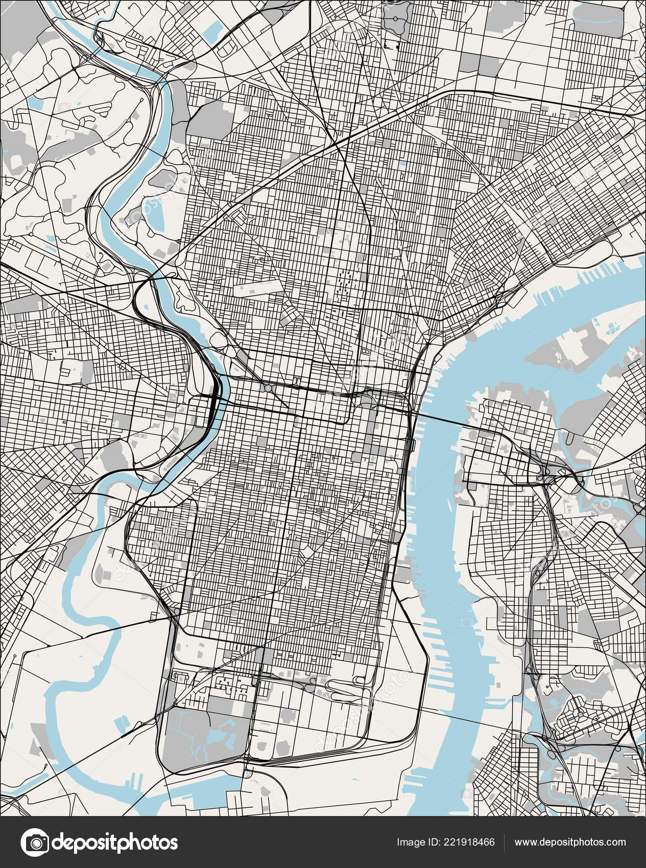 Map Of The City Of Philadelphia Pennsylvania Usa Stock Vector