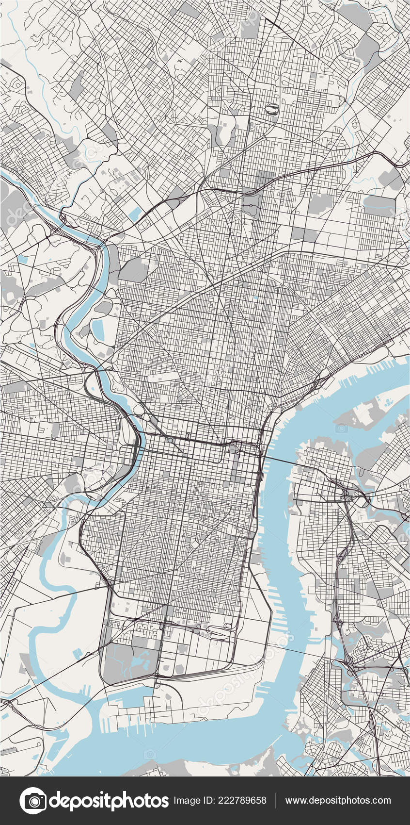 Illustration Map City Philadelphia Pennsylvania Usa — Stock Vector on
