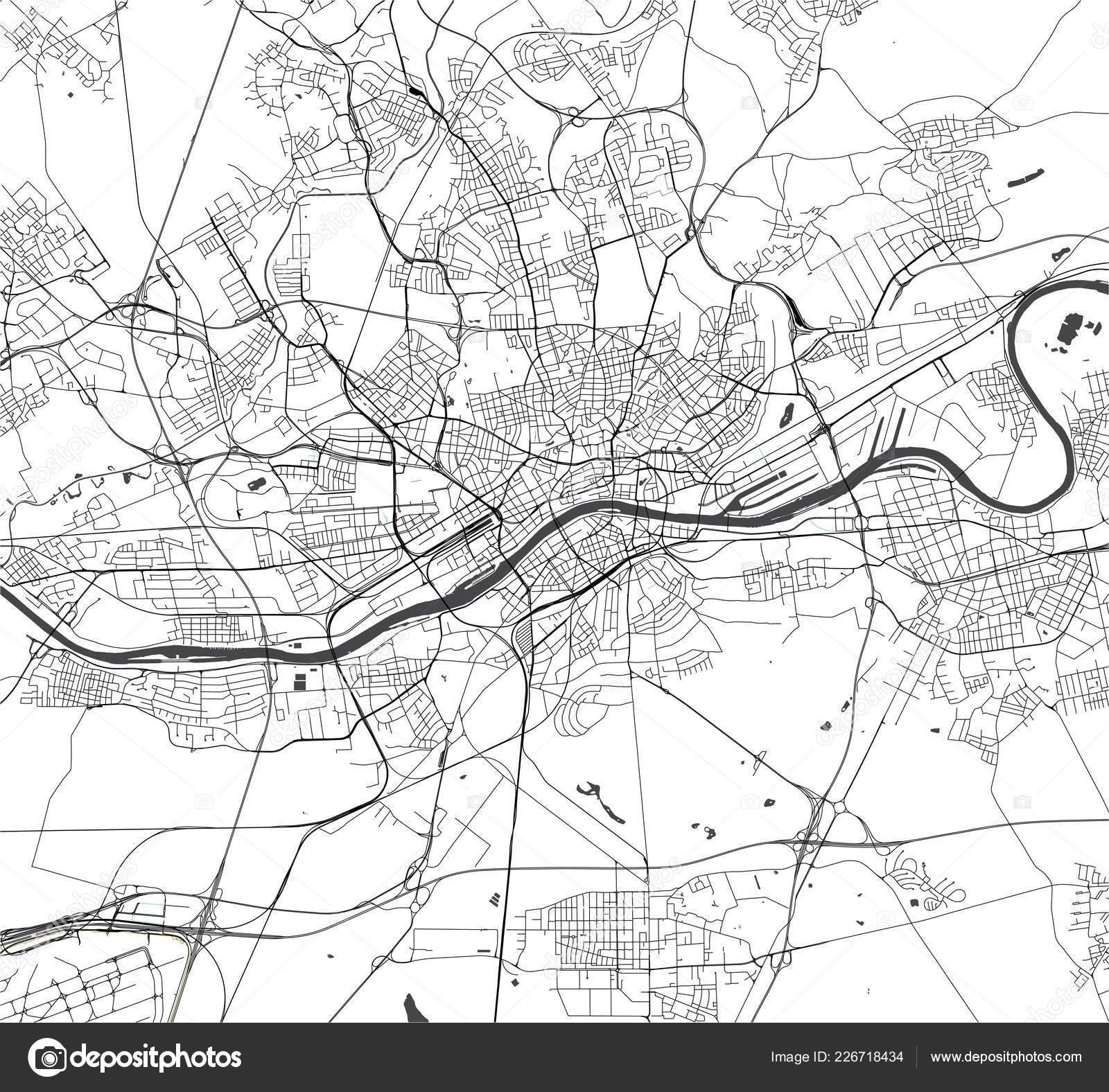 Map Of Germany Frankfurt.Map Of The City Of Frankfurt Am Main Hesse Germany Stock Vector