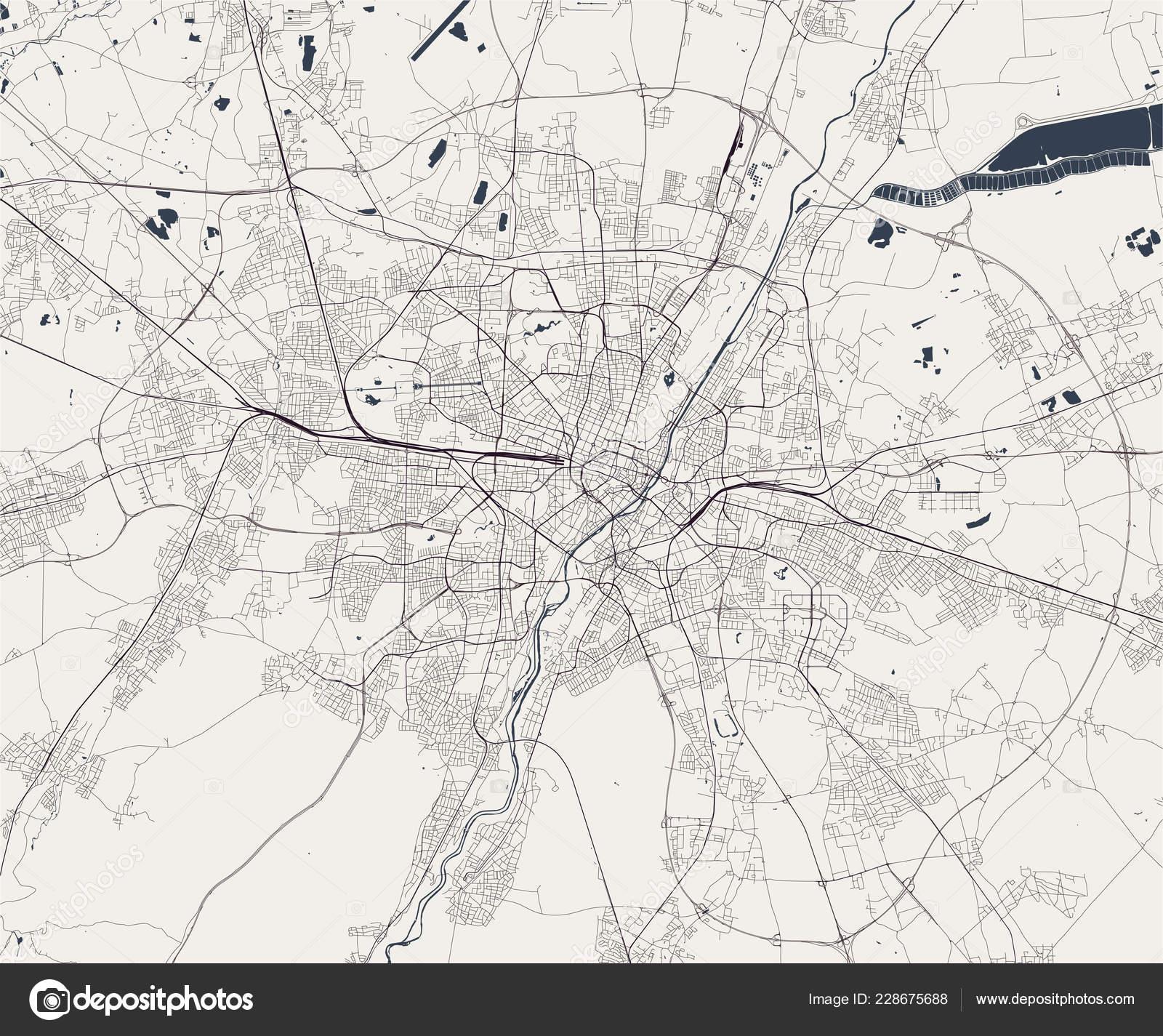 München Karte Deutschland.Karte Von Der Stadt München Bayern Deutschland Stockvektor