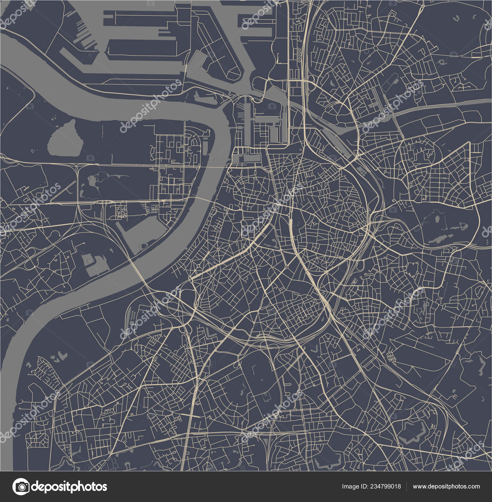 Vector Map City Antwerp Belgium Stock Vector C Tish11 234799018