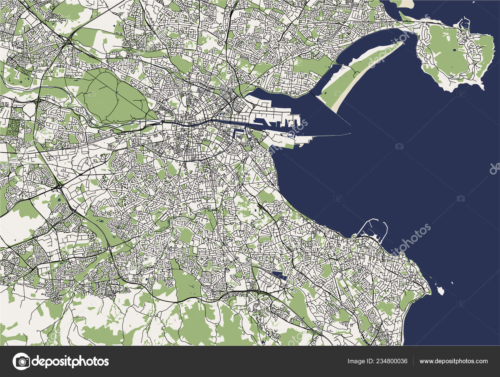 Map Of Dublin 7 Ireland.Vector Map City Dublin Ireland Stock Vector C Tish11 234800036