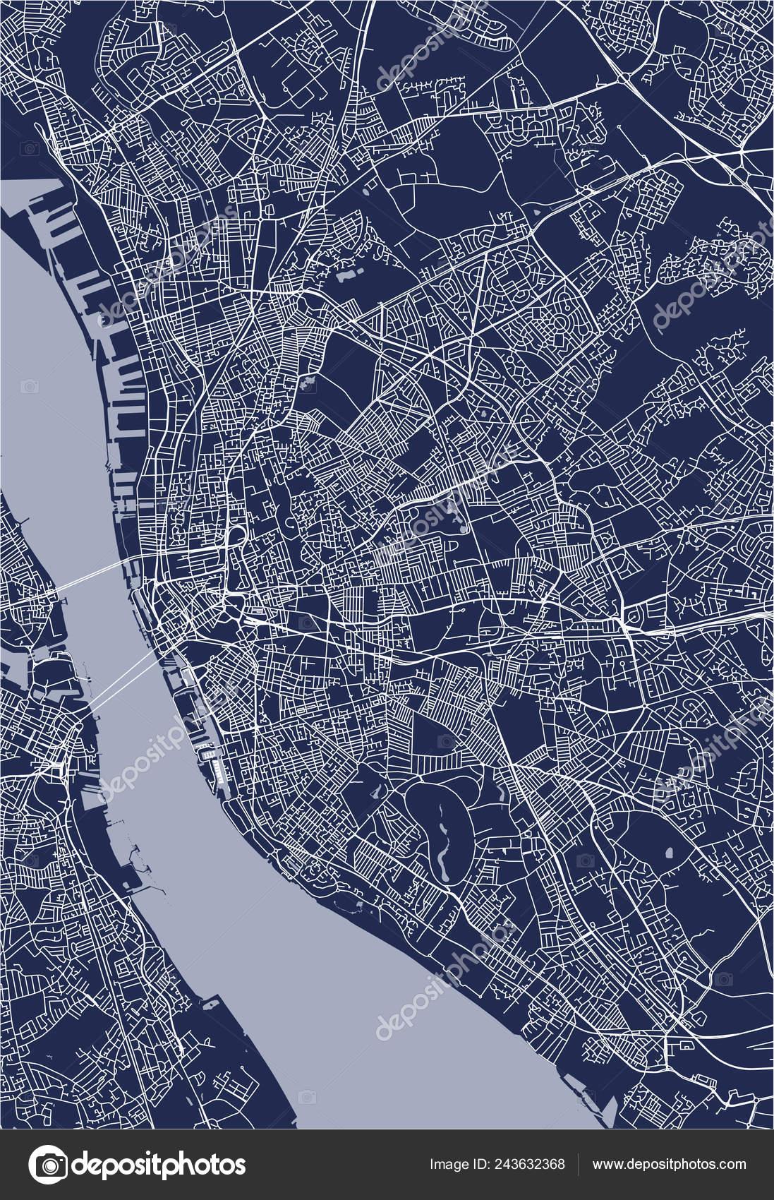 Vector Map City Liverpool Birkenhead United Kingdom — Stock ...