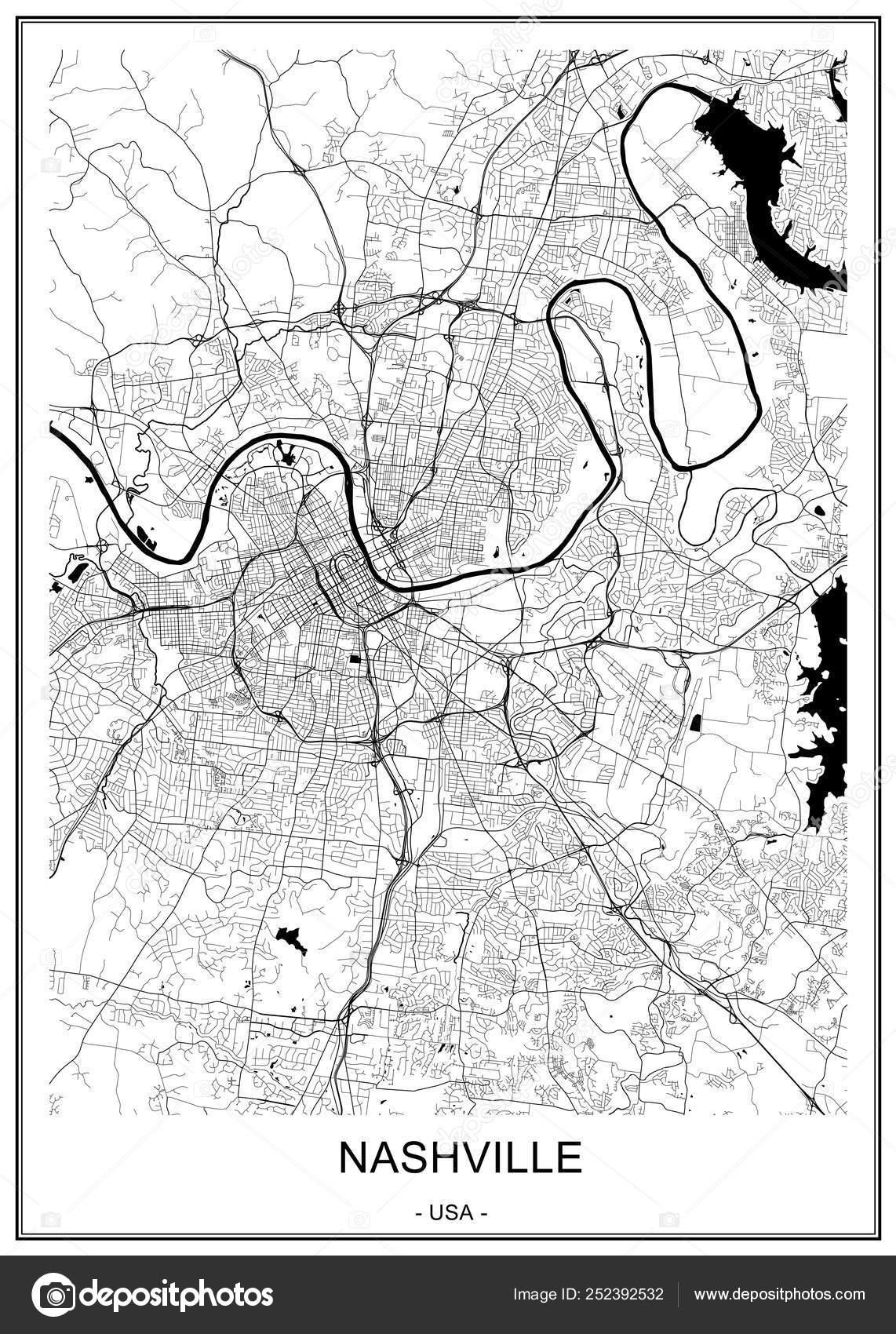Mapa de la ciudad de Nashville, Tennessee, Usa — Vector de ...