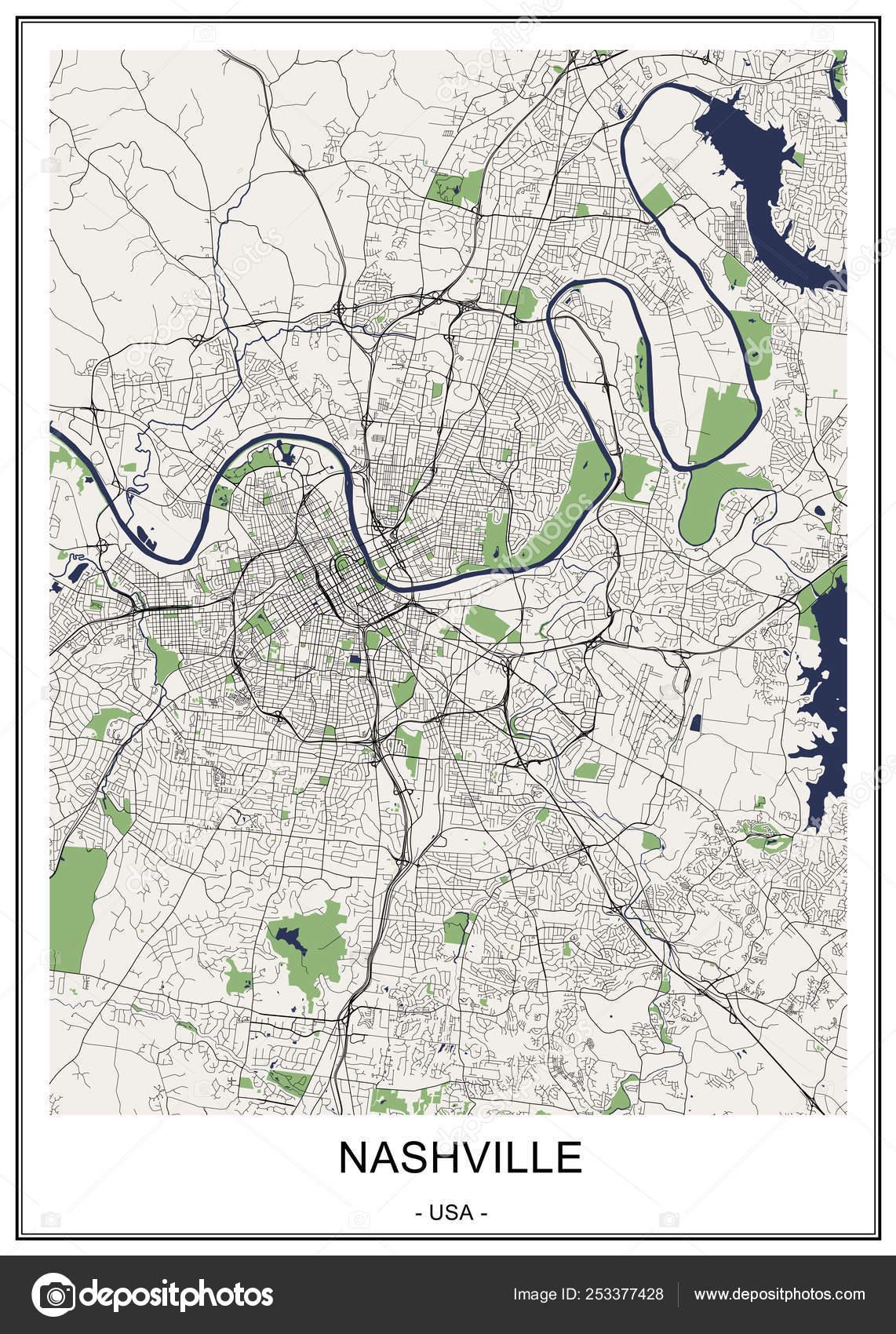 mapa de la ciudad de Nashville, Tennessee, Usa — Vector de stock ...