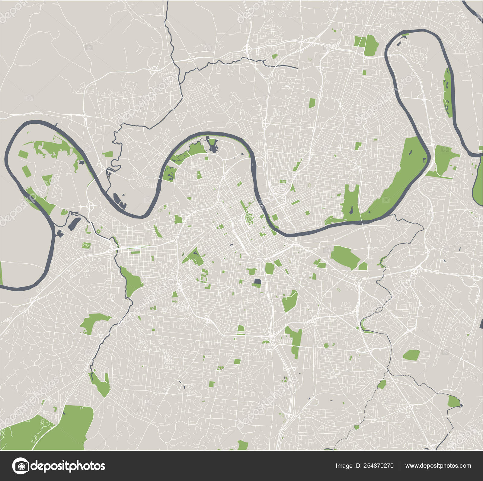 Map of the city of Nashville, Tennessee, USA — Stock Vector ...