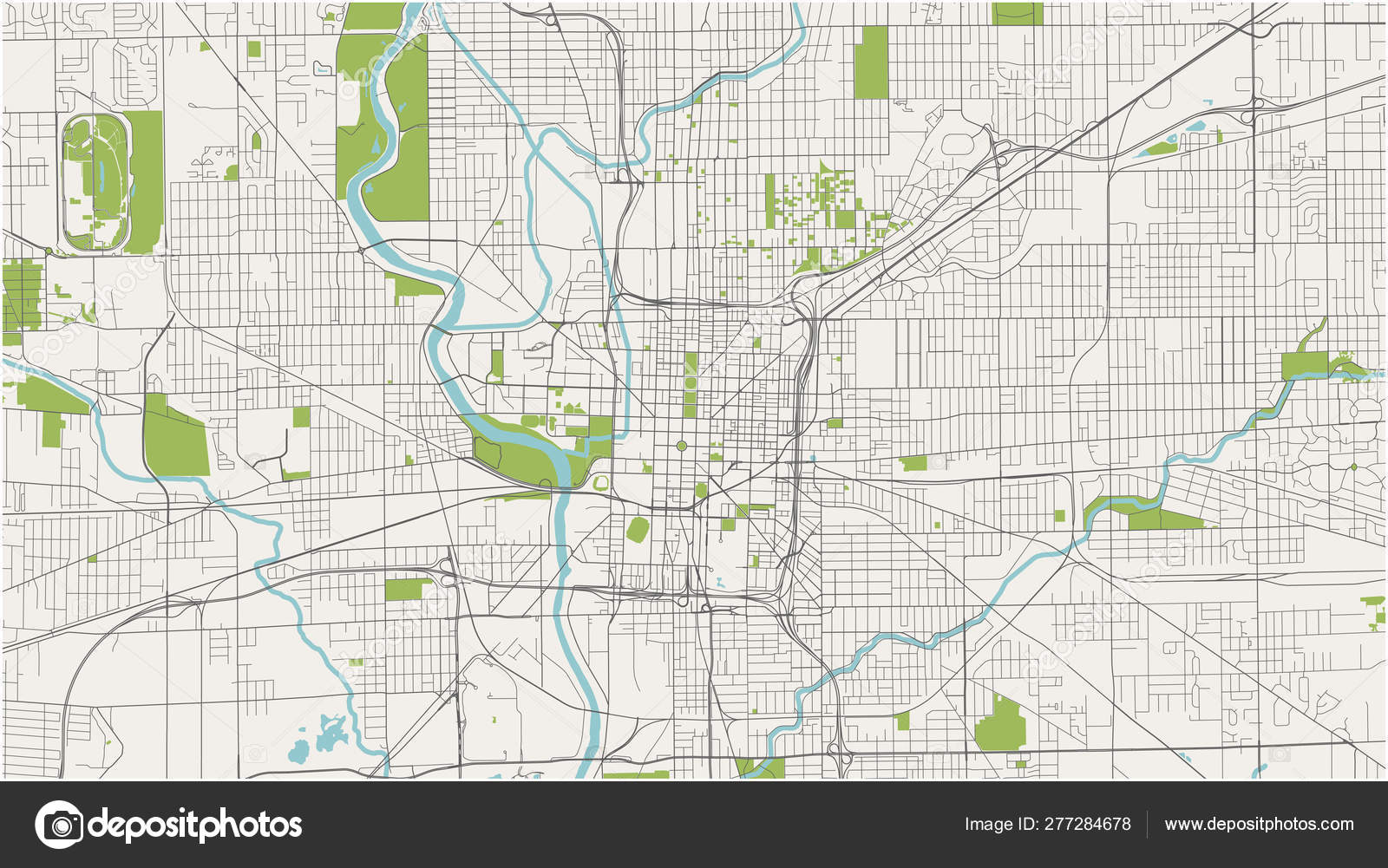 Map of the city of Indianapolis, Indiana, USA — Stock Vector ...