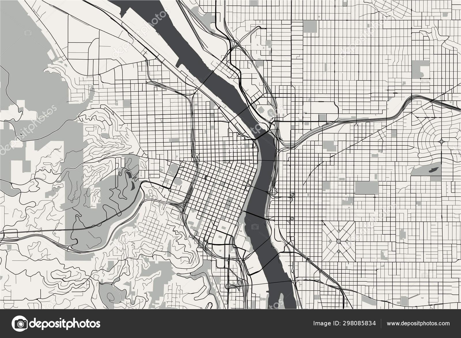 Map of the city of Portland, Oregon, USA — Stock Vector ...