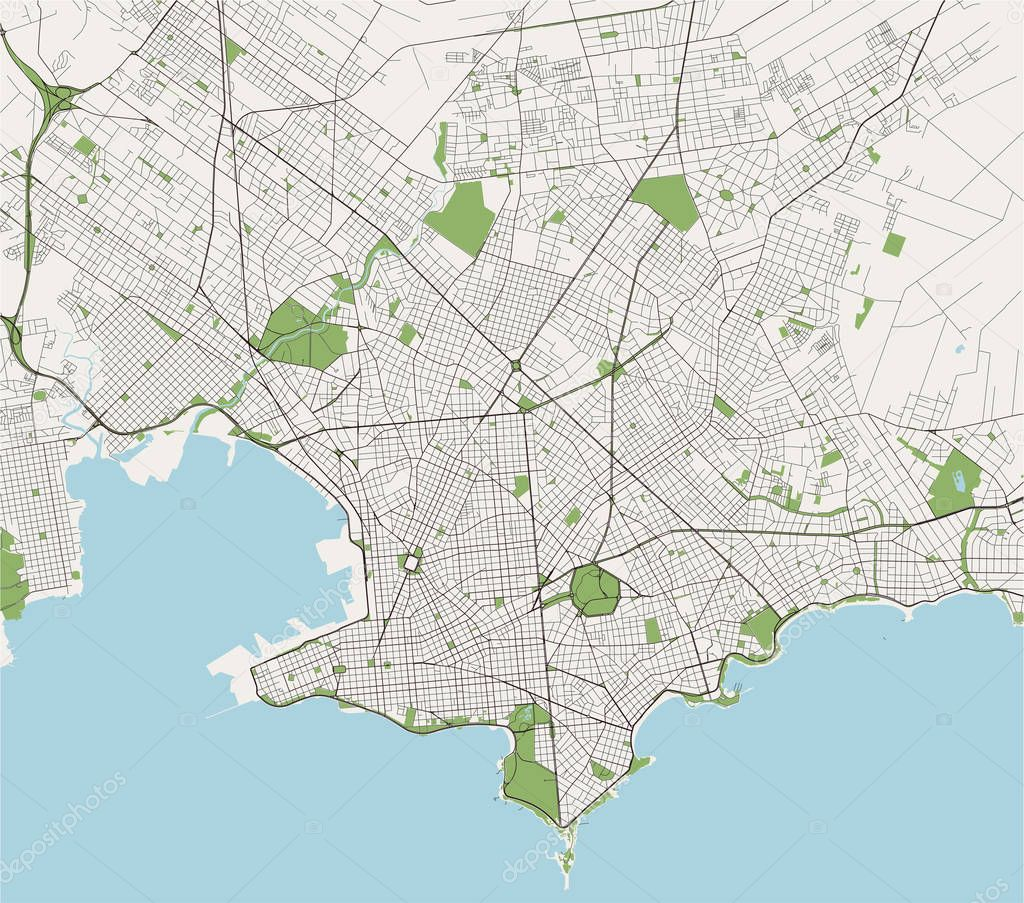 Image of: Vector Map Of The City Of Montevideo Uruguay South America Premium Vector In Adobe Illustrator Ai Ai Format Encapsulated Postscript Eps Eps Format