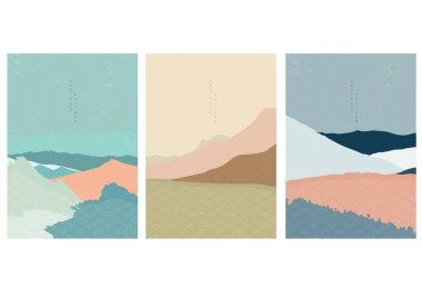 Landscape background with Japanese wave pattern. Abstract template with geometric pattern. Mountain layout design in oriental style.