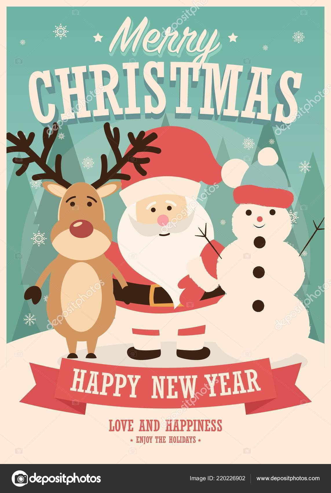 Merry Christmas Card Santa Claus Reindeer Snowman Winter Background ...