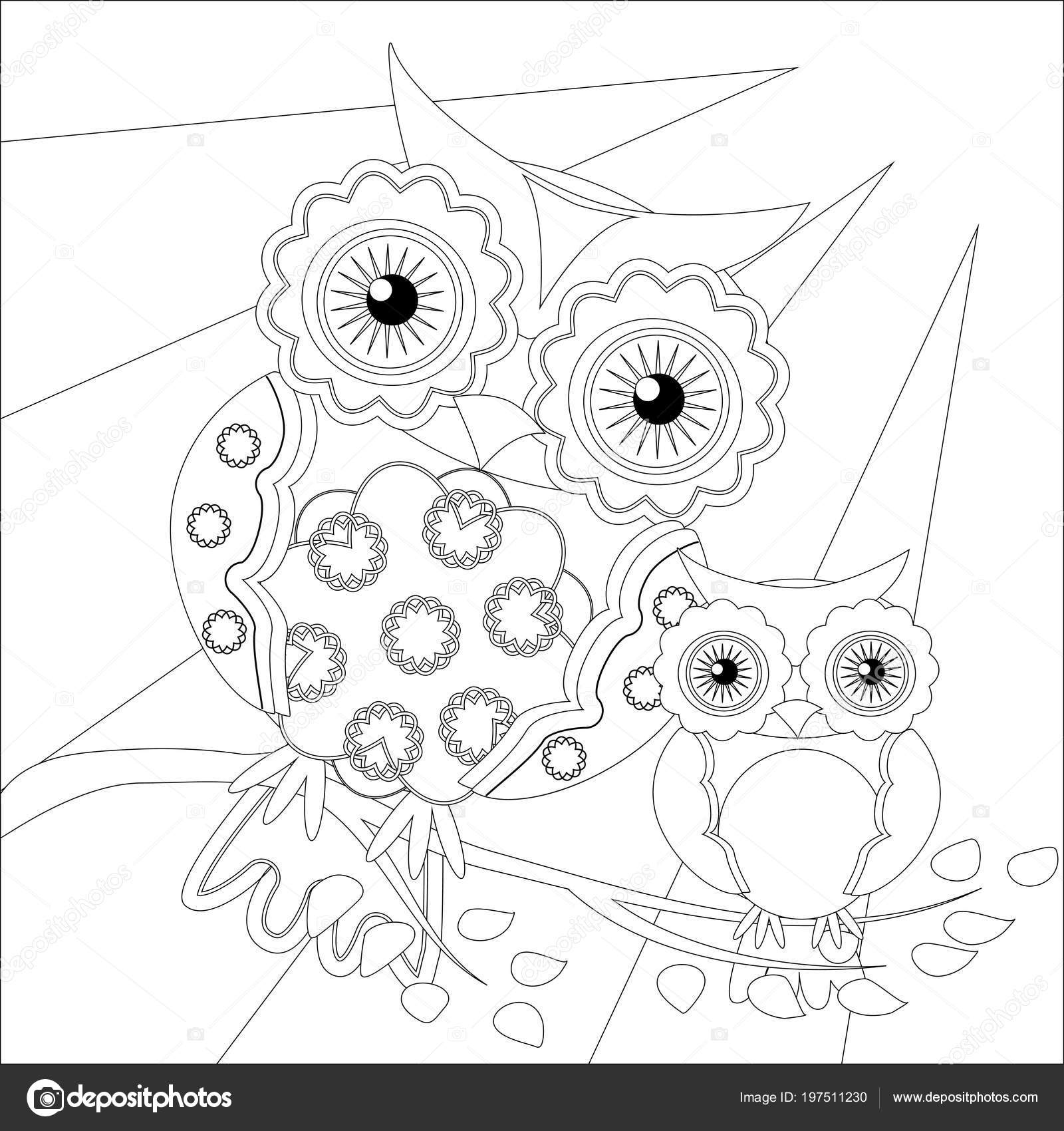 Coloring Book Adult Older Children Coloring Page Cute Owl Outline