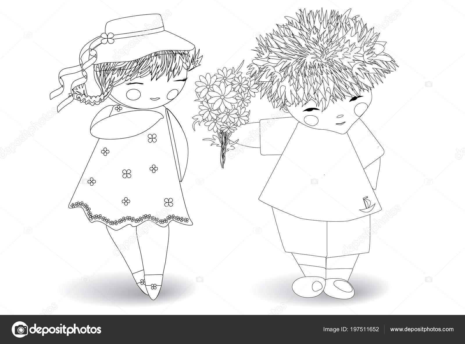 Disegni Colorare Adulti Bambini Ragazzo Alla Ragazza Mazzo Fiori