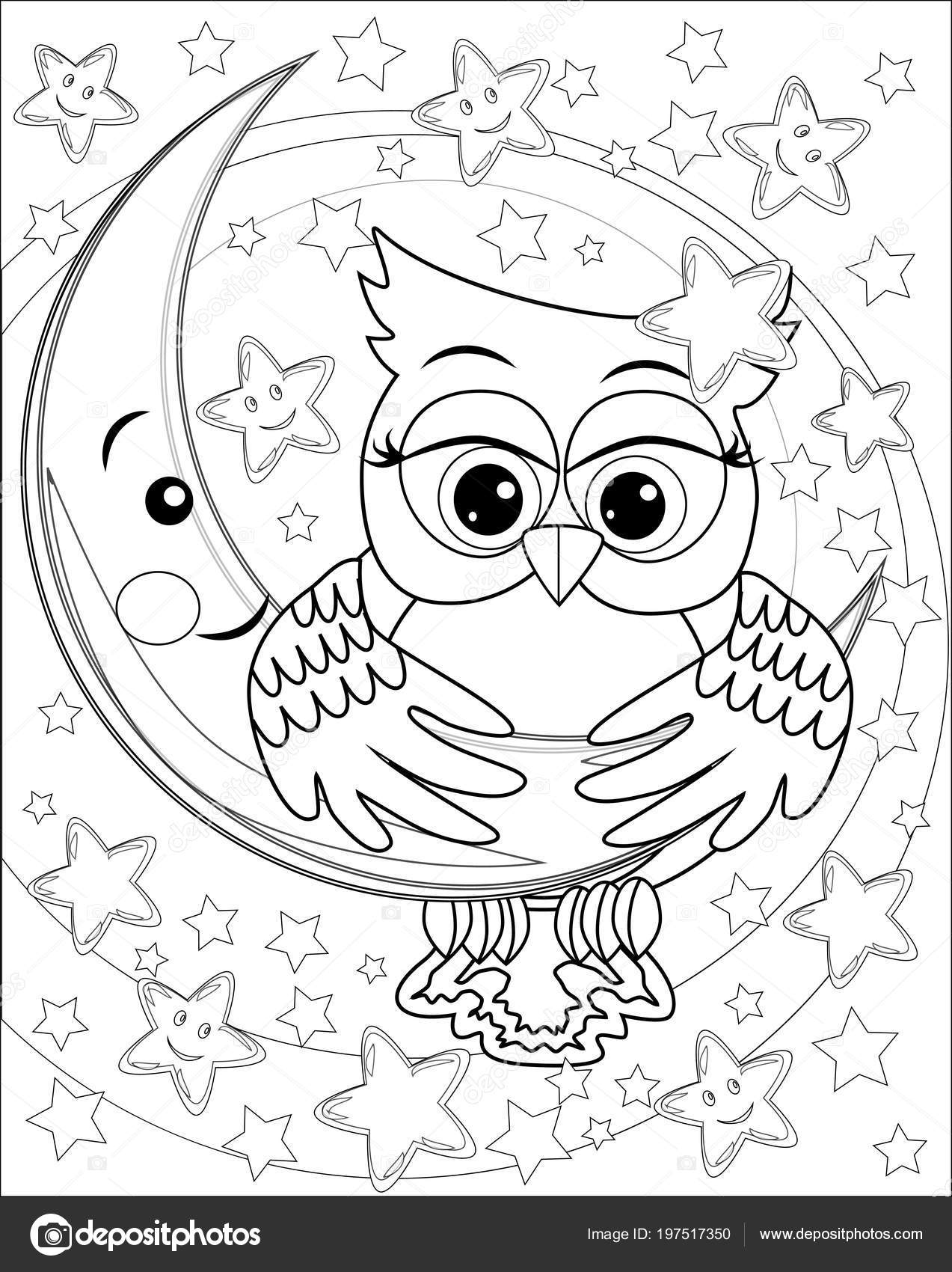 Coloring Book Adult Older Children Coloring Page Owl Moon Stars