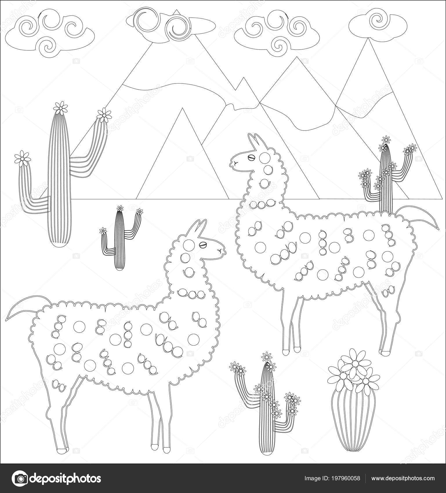 Coloring Page Cartoon Lama Lama Coloring Adults Children Stock