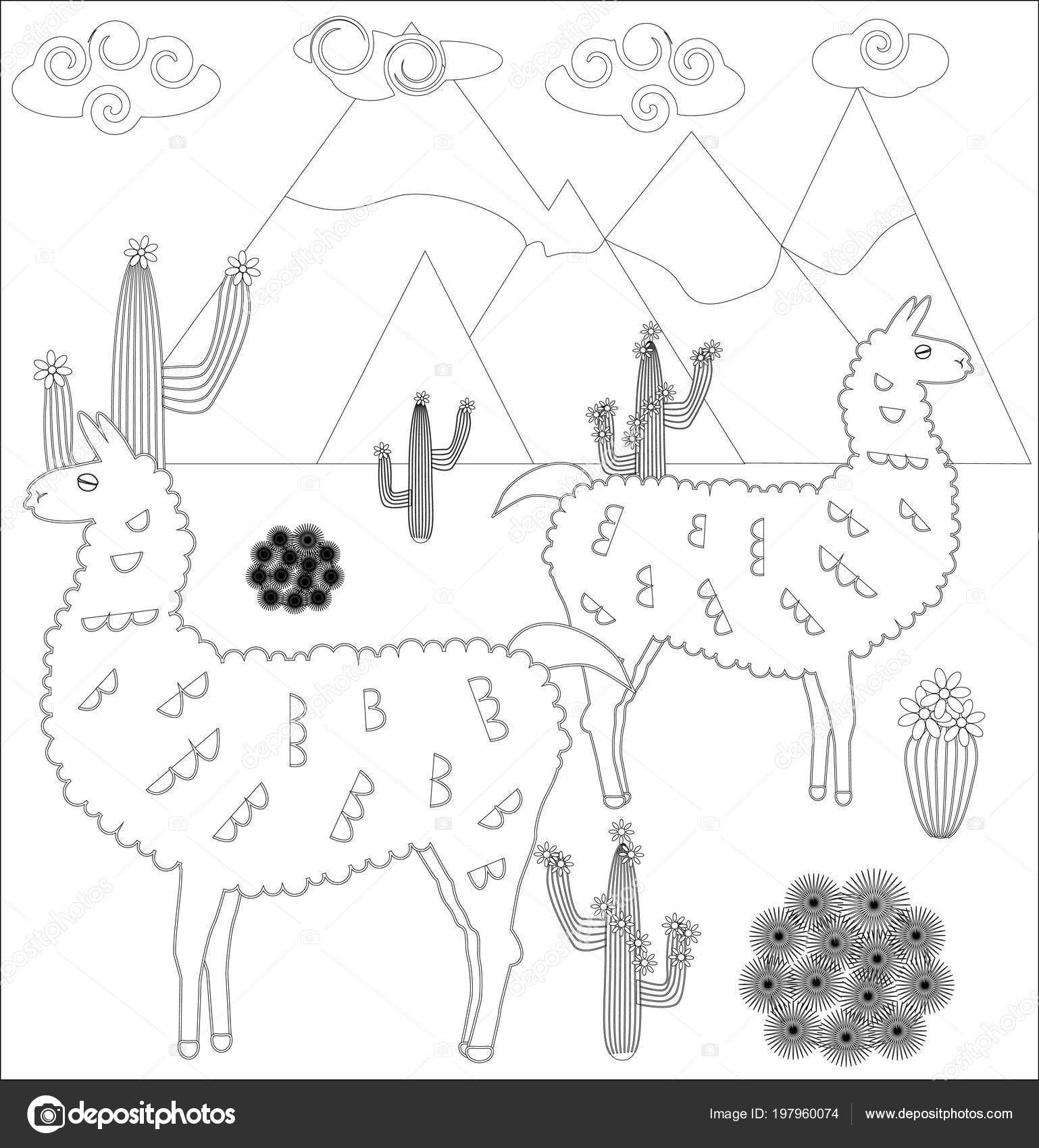 Coloring book page for kids. Cute Lama baby. Sketch outline and ... | 1700x1538
