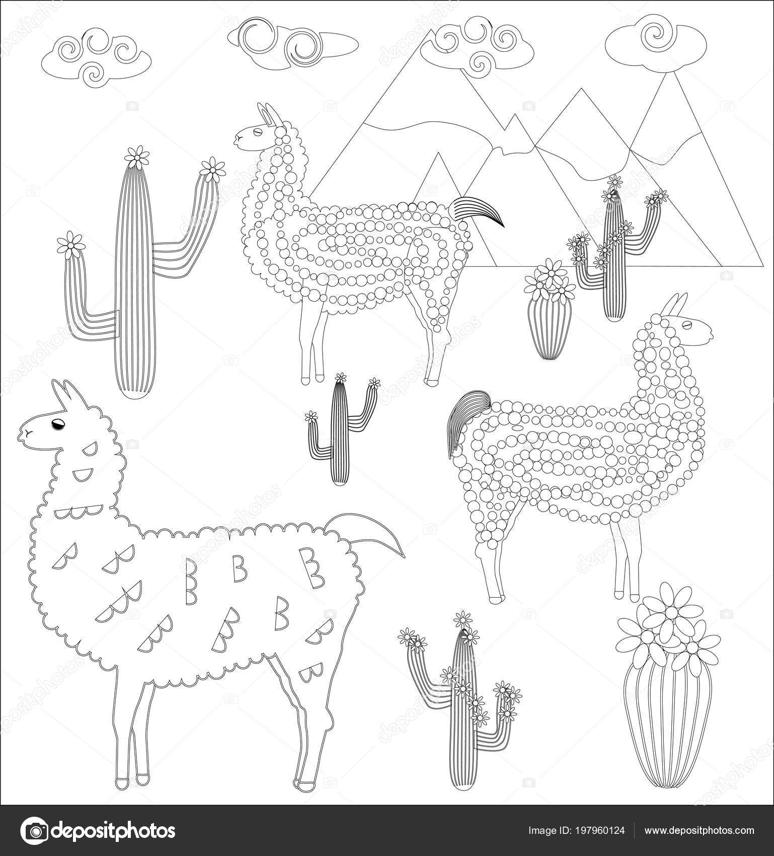 Coloring Page Of Cartoon Lama. Illustration, Coloring Book For ... | 1700x1538