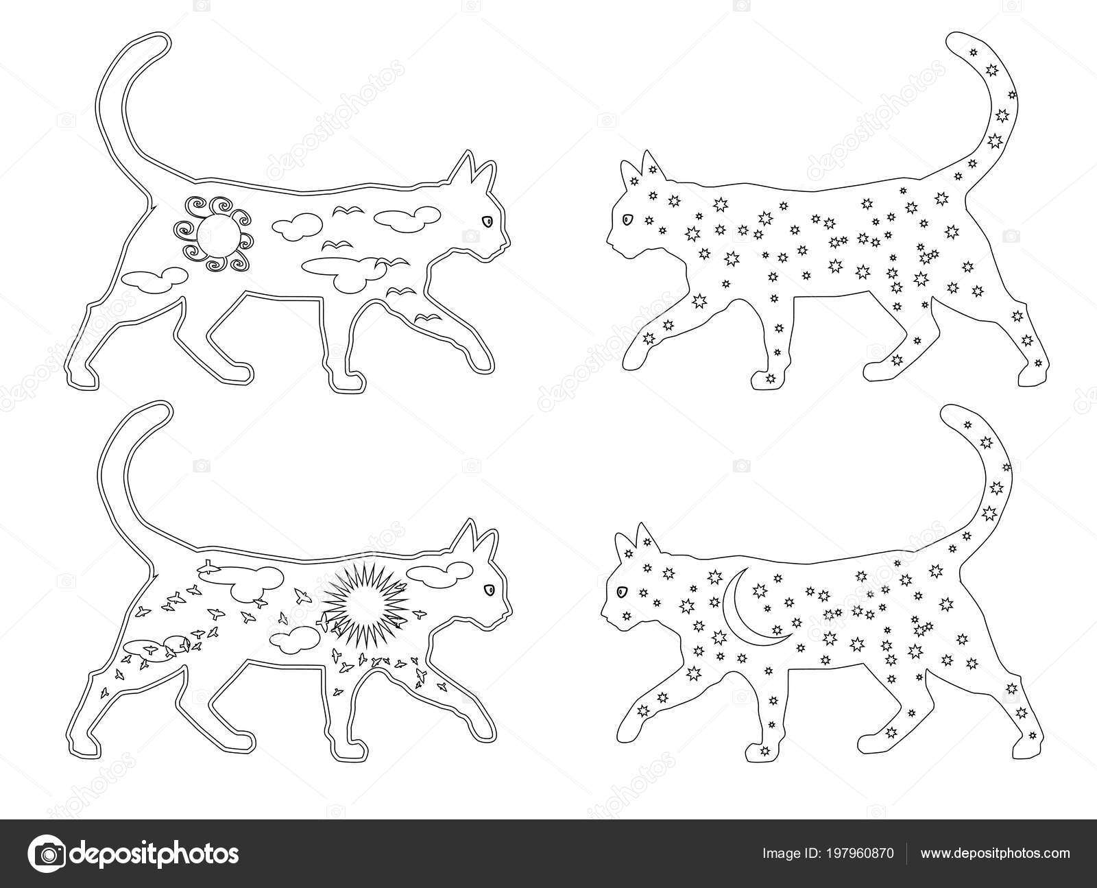 Coloring Page Outline Cartoon Cats Coloring Book Kids