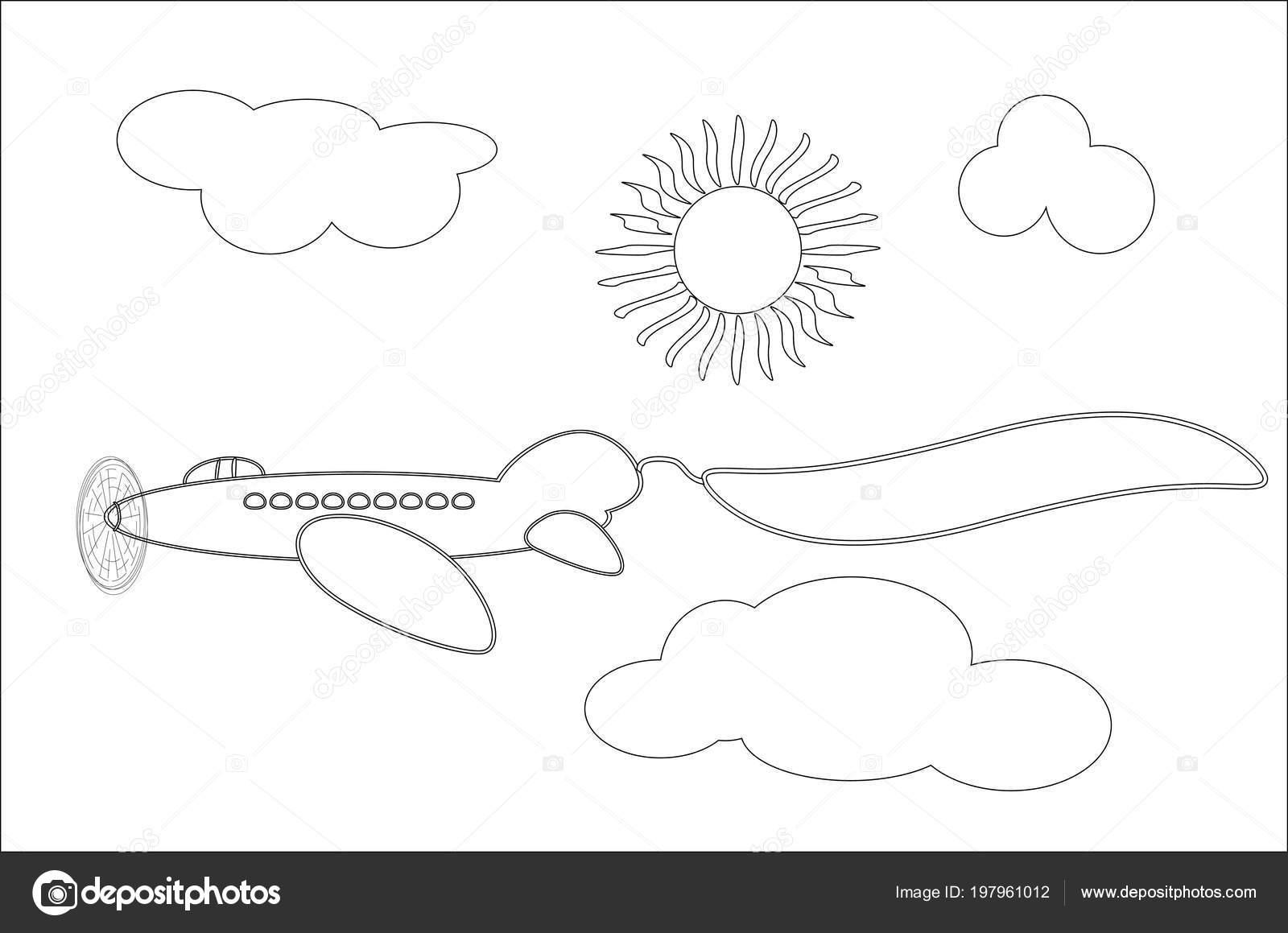 Hava Uçak Siyah Beyaz çizgi Film Vektör çizim Boyama Kitabı Stok