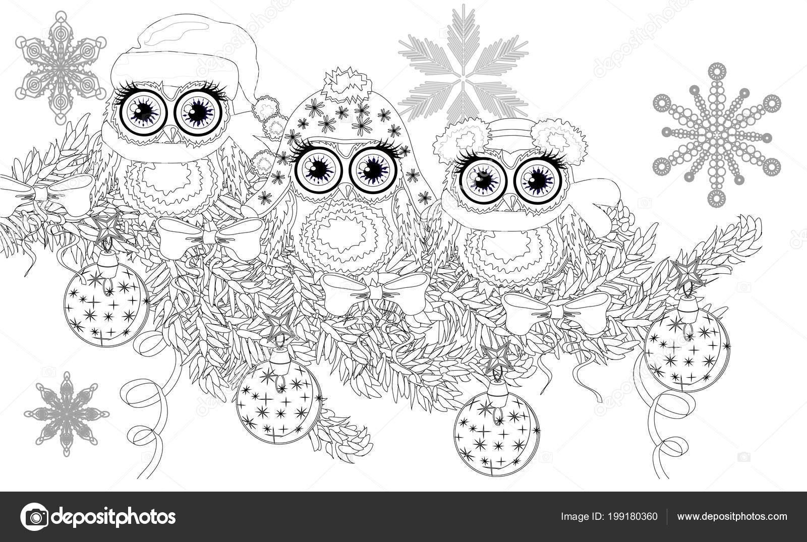Malvorlagen Buch Von Eule Und Weihnachtsbaum Für Erwachsene Und Alte ...