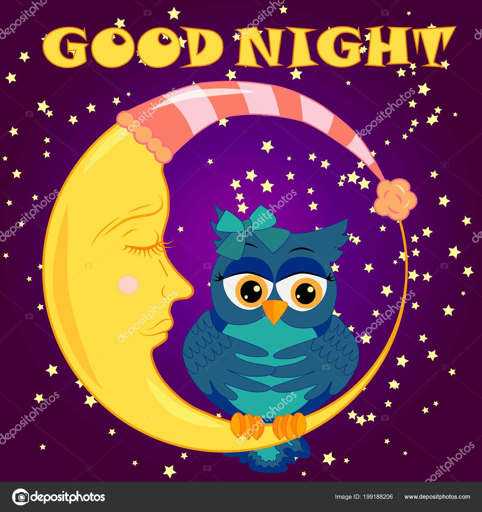 Carte Bonne Nuit Avec Couchage Lune Hibou Mignon Dessin