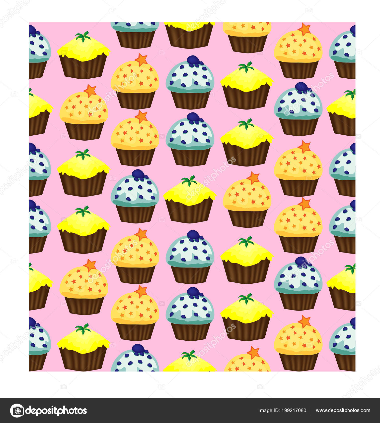 Birthday Background Seamless Pattern With Cupcakes And Muffins Cute Cartoon Characters Emoji Kawaii Vector Illustration Stock