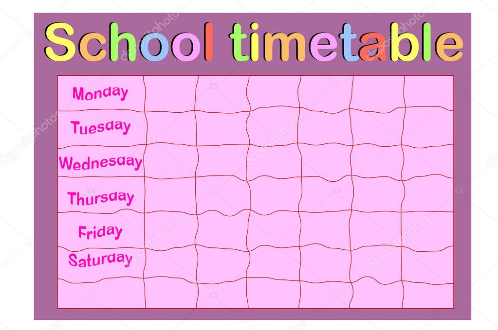 School Timetable, a weekly curriculum design template, scalable vector graphic with watercolor butterflies