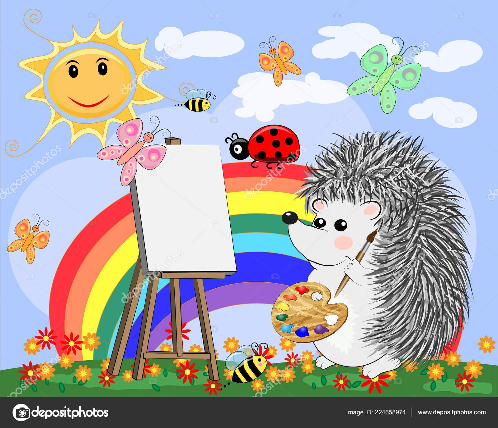 Künstler Igel Zeichnet Ein Bild Der Landschaft Der Natur Das