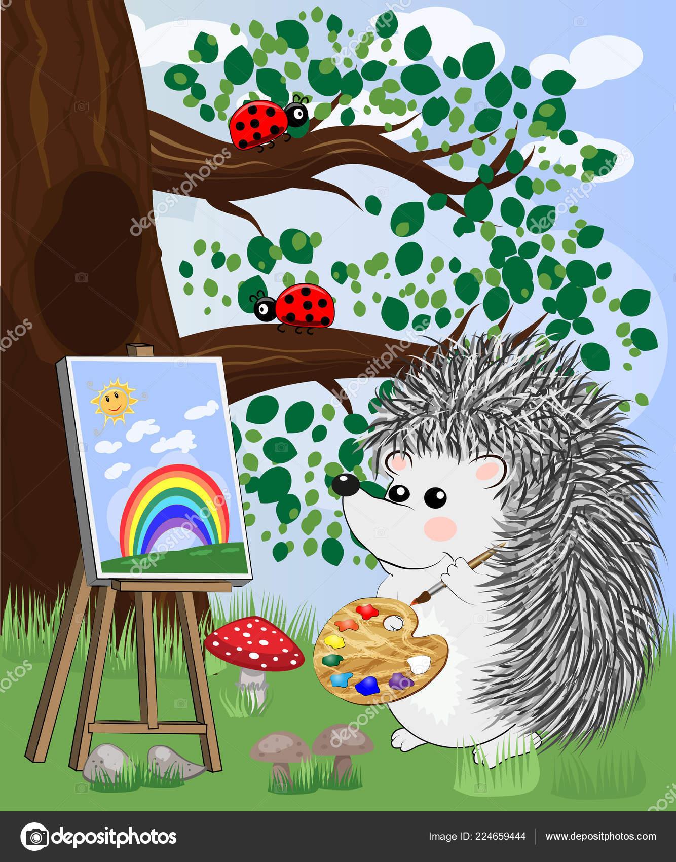 Der Künstler Igel Der Waldlichtung Zeichnet Ein Bild Auf Der