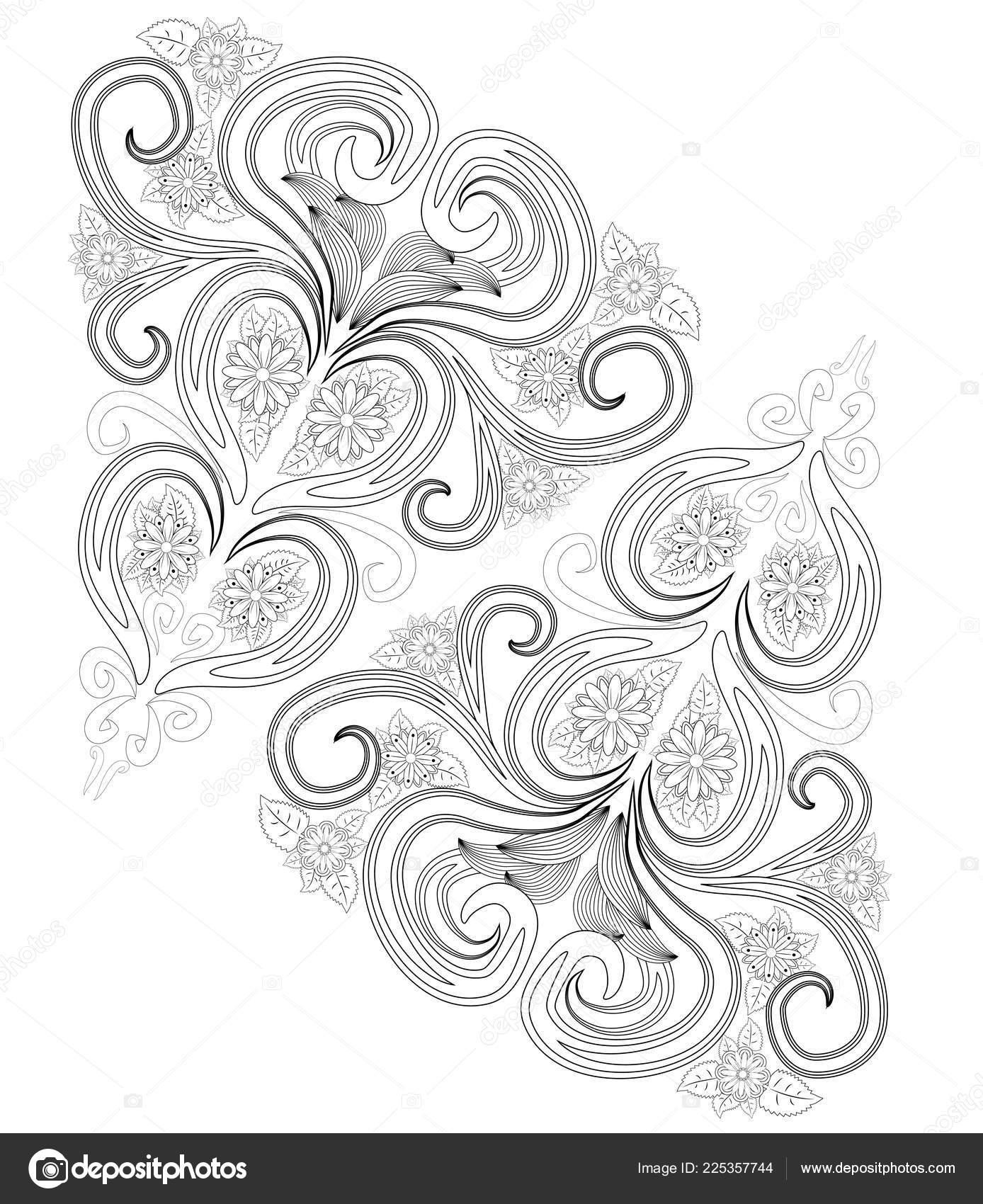 Henna Tattoo Doodle Elements White Background Mehendi Flowers Vector