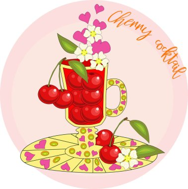 Cherry cocktail cooked with love. A cup with cherry berries, decorated with leaves and flowers, inscriptions about utility