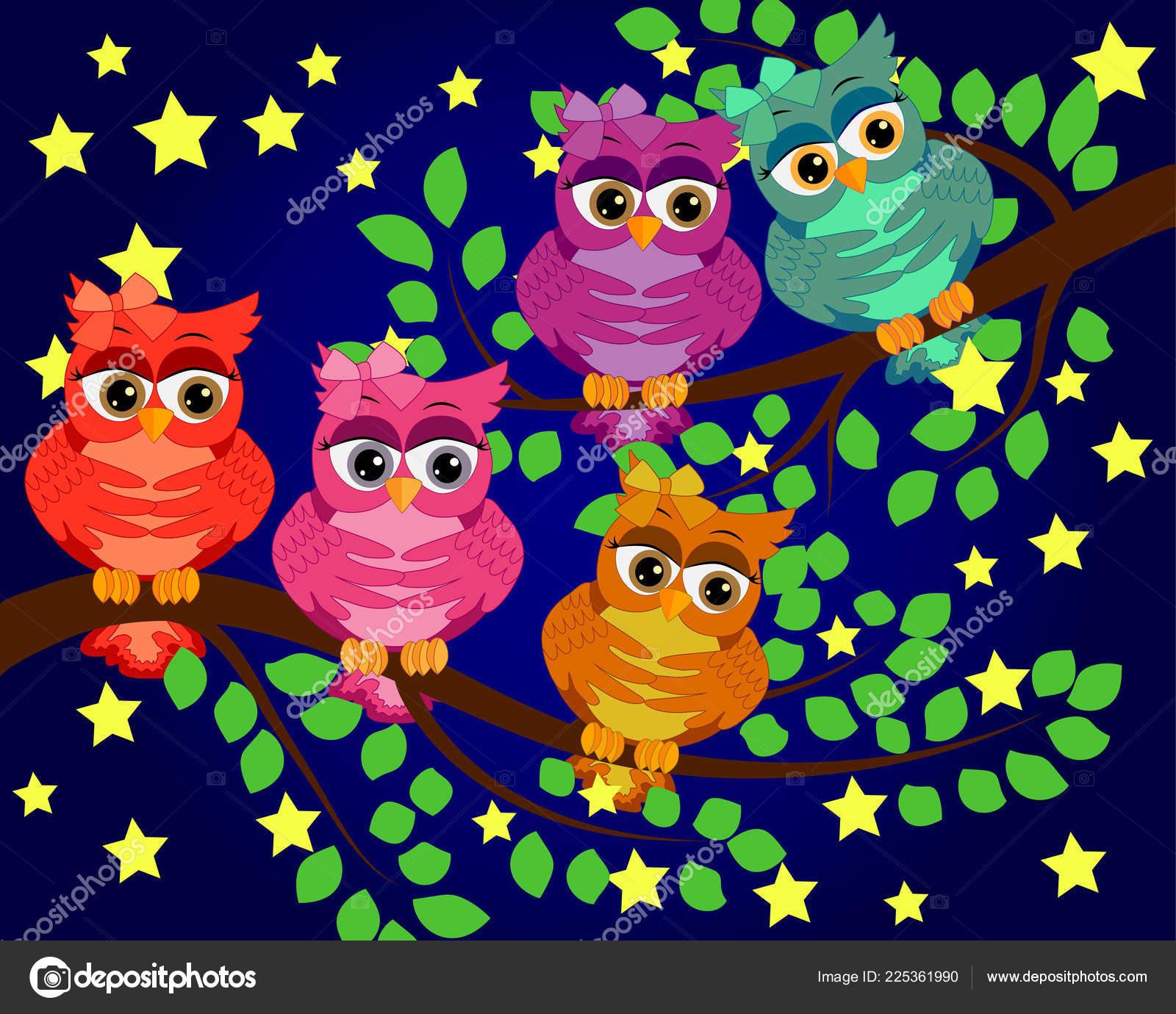 Good Night Sweet Dreams Night Scene Moon Stars Owl Owl Stock