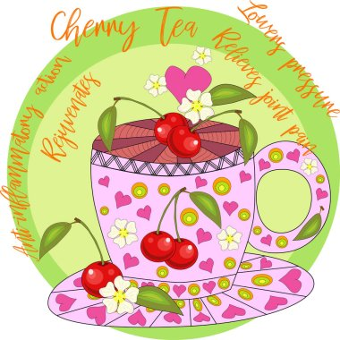 Cherry tea. Tea cooked with love. A cup with cherry berries, decorated with leaves and flowers, inscriptions about utility