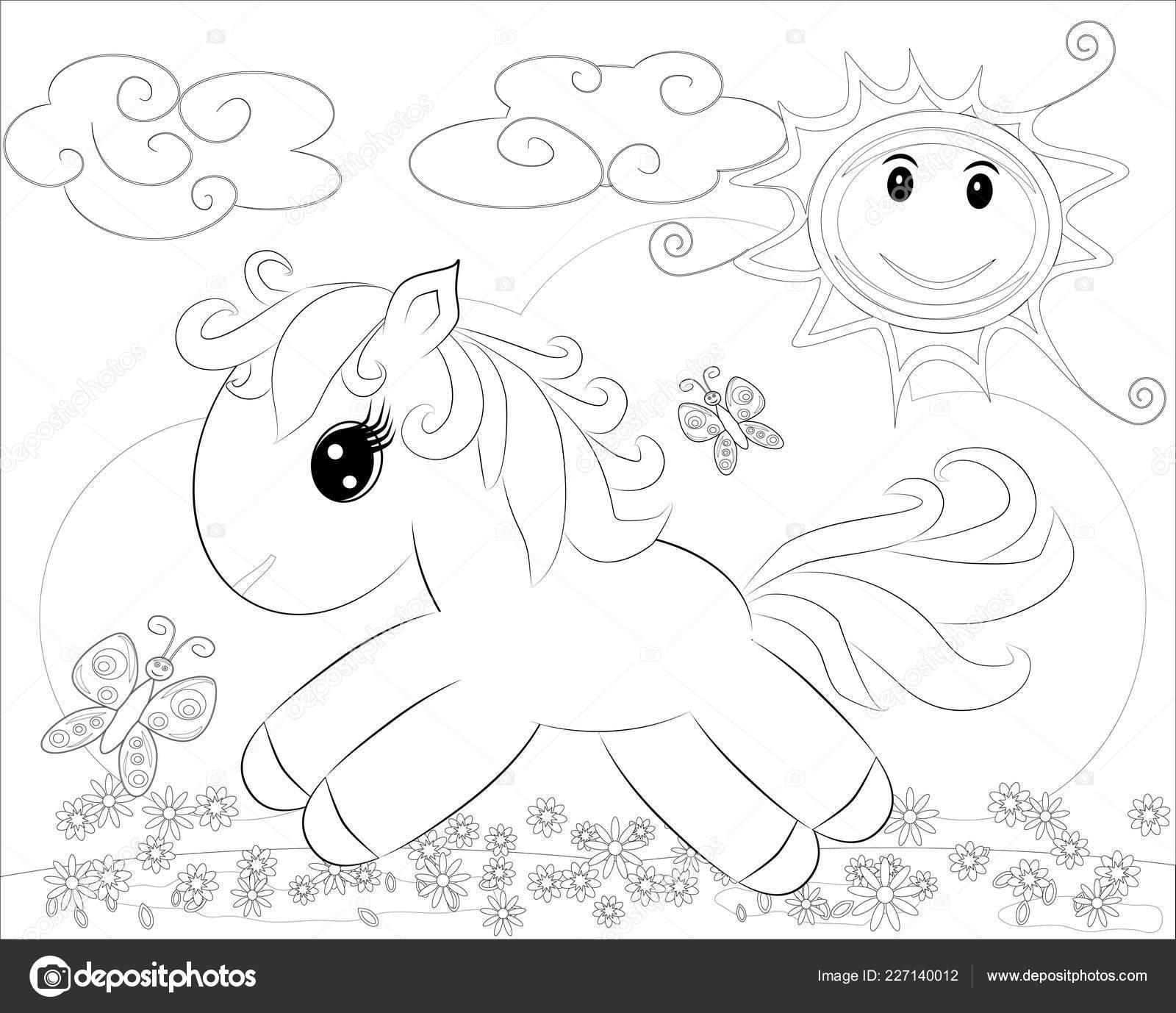 Kleurplaten Regenboog.Kleurplaten Kleine Schattige Pony Regenboog Stockvector