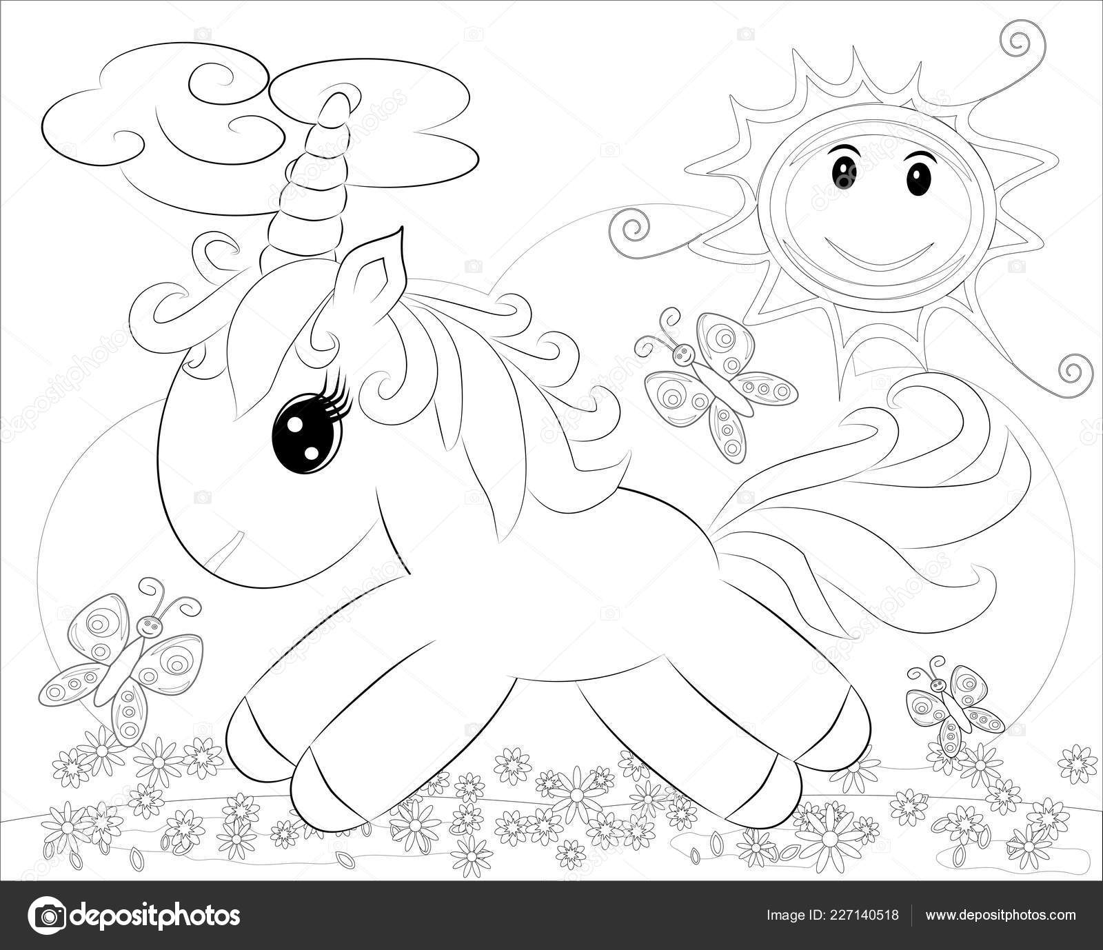 Coloring Pages Little Cute Pony Rainbow — Stock Vector © Michiru13 ...