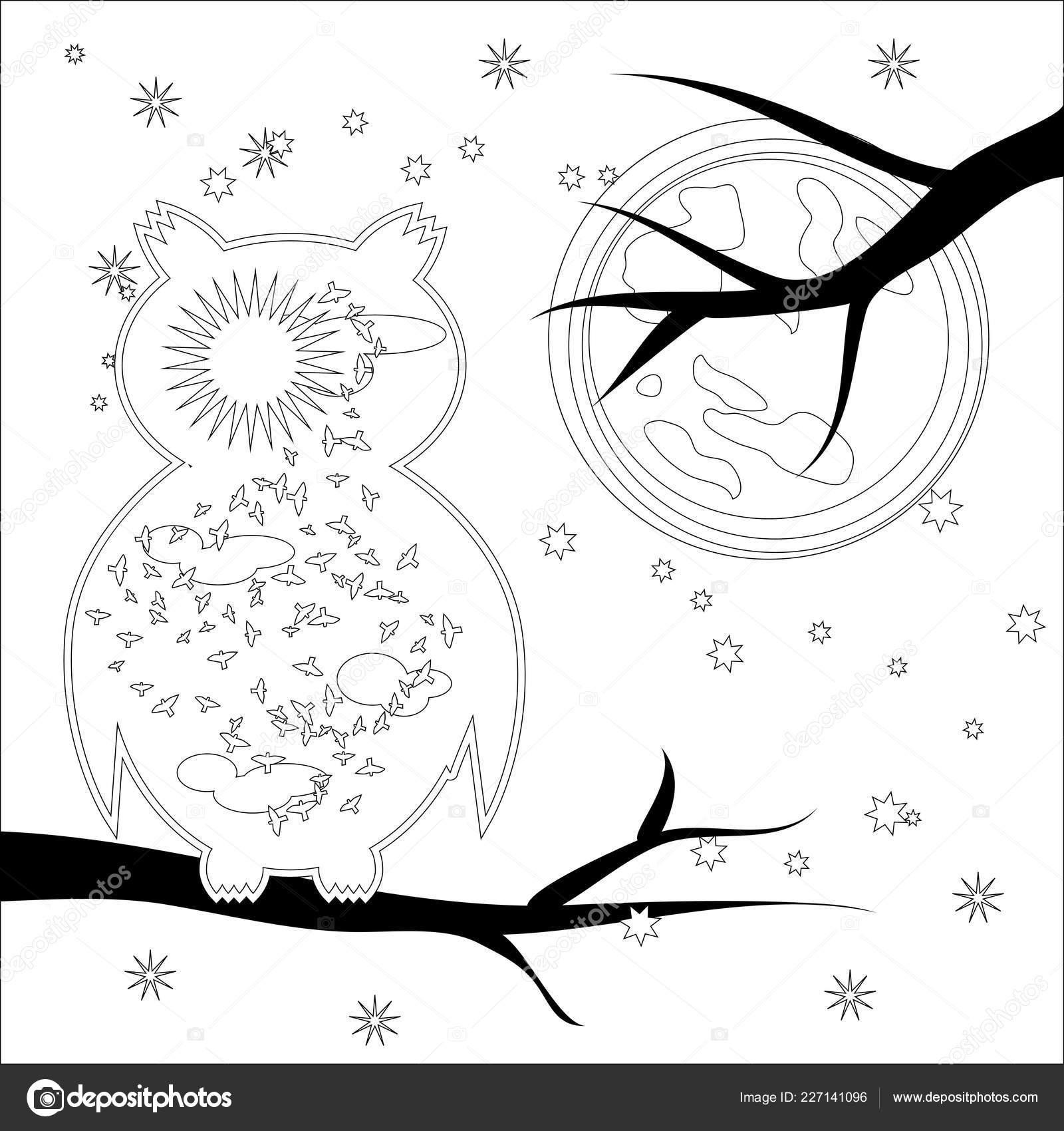 Sayfa Simgesi Güneş Baykuş Boyama Boyama Kitabı Yetişkin Antistress