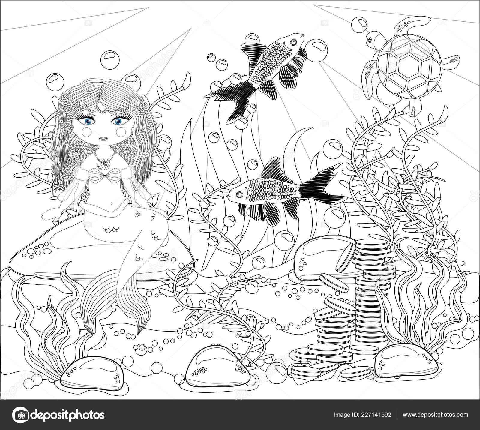 Libro Para Colorear Para Niños Pequeño Mundo Sirena Mar Vector De