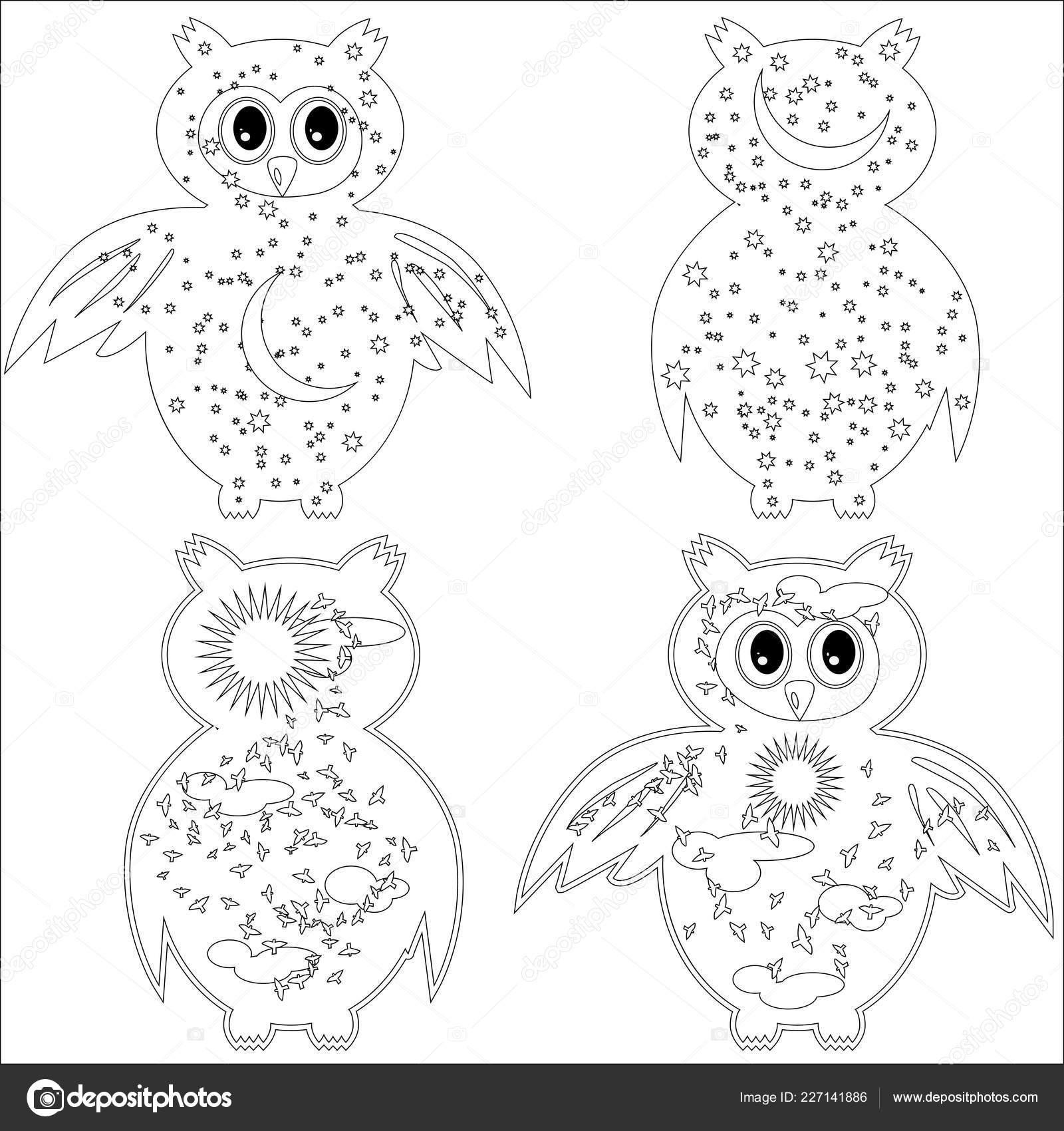 Buho Tatuaje Mandala página para colorear con símbolo luna sol buho colorear