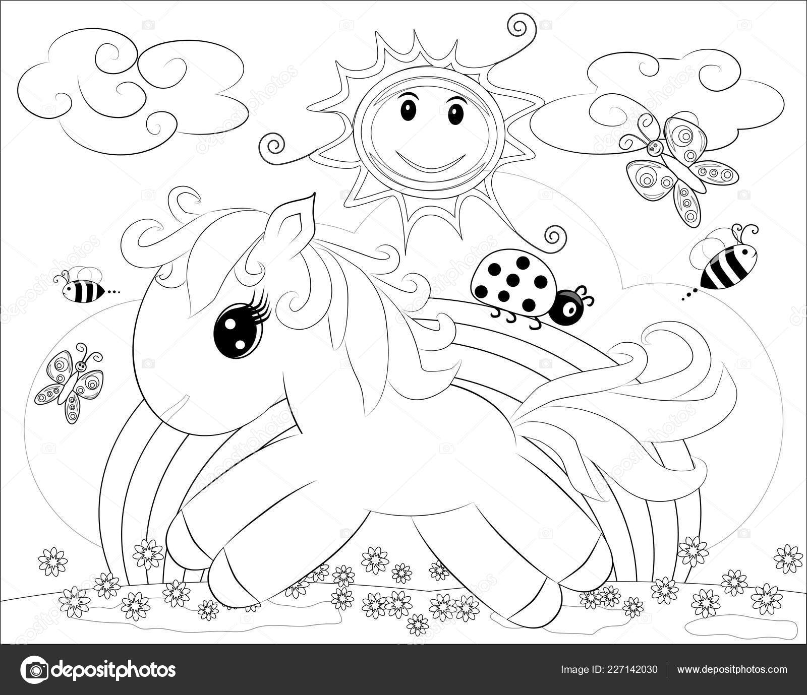 Dibujos Para Colorear Pequeño Pony Lindo Arco Iris Vector De Stock