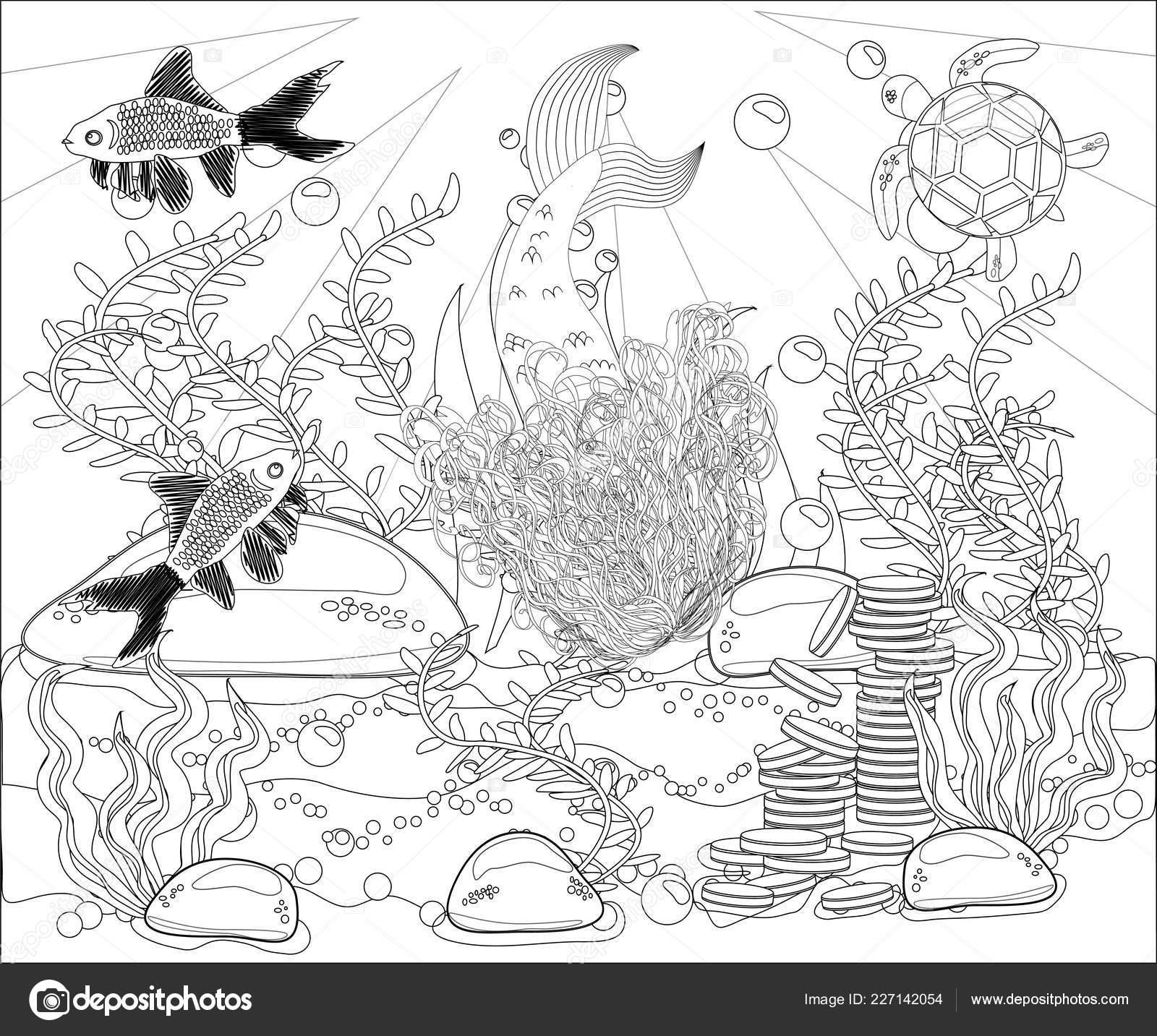 Beautiful Mermaid Underwater World Stress Coloring Book ...